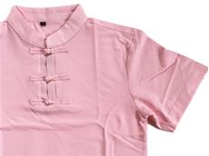 チャイナ風ポロシャツ:ピンク