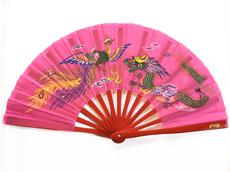 太極拳扇「鳳凰・龍 ピンク」、ケース